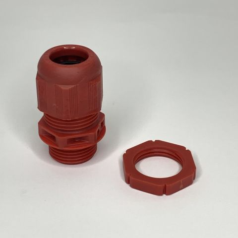 20MM FIRE ALARM CABLE GLAND WITH LOCKNUT, RED, IP68, CABLE RANGE:7.5 - 14MM