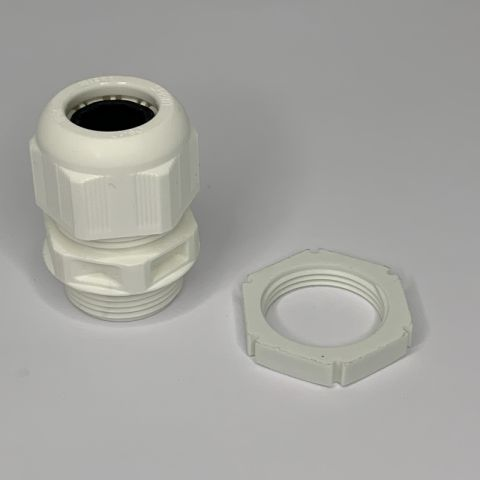 25MM FIRE ALARM CABLE GLAND WITH LOCKNUT, WHITE, IP68, CABLE RANGE:9 - 17MM