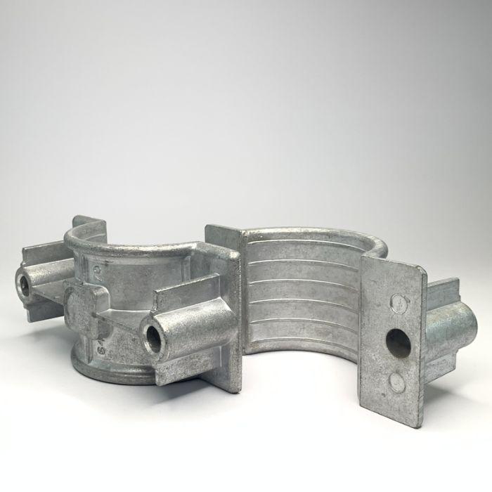 Two Hole Two Part Aluminium Cable Clamp 64 - 70mm