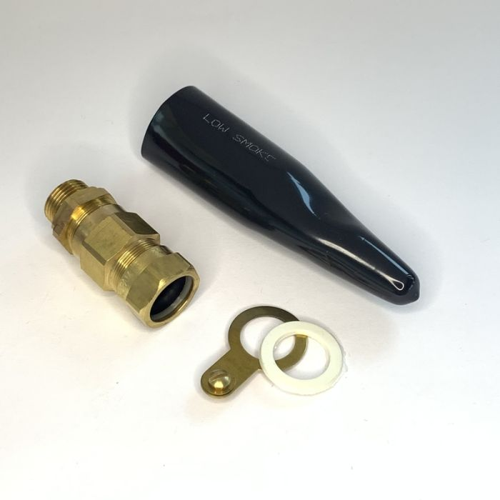 20L E1W TYPE BRASS CABLE GLAND WITH LSF SHROUD, EARTH TAG AND NYLON WASHER, COMPLETE SET, RUPAM