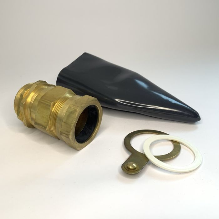 """40S """"E1W"""" TYPE BRASS CABLE GLAND WITH LSF SHROUD AND NYLON WASHER, COMPLETE SET, RUPAM"""