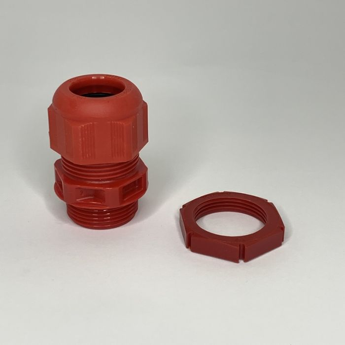 25MM FIRE ALARM CABLE GLAND WITH LOCKNUT, RED, IP68, CABLE RANGE:9 - 17MM